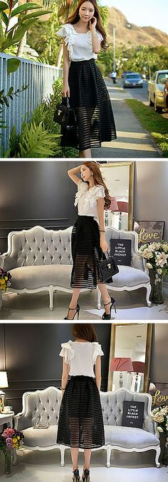 Sheer stripe full midi skirt. This is such a chic skirt for summer! Style it with a gorgeous top and strappy sandals for a sophisticated look.