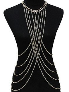 Golden Sexy Multi Layer Cross Front Body Chain