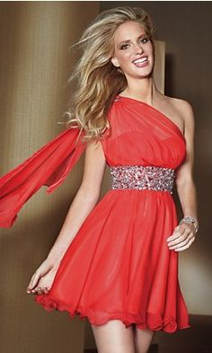 Red bare shoulder dress
