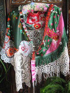 Agnes Cape, Antique Silk, Polka Dots, Vintage Lace, Green, Pink, Orange, Flowers, Shawl, Jacket. $265.00, via Etsy.