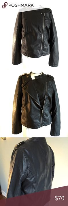 """Sanctuary Black Vegan Leather Moto Jacket NWT, this fabulous jacket adds a bit of edge to any outfit! Bust measures 42"""", waist 41"""". Diagonal zipper, front and side snap options, front pockets. 100% polyurethane she'll, 100% cotton lining. Sanctuary Jackets & Coats"""