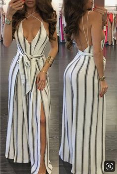 Sexy womens summer sleeveless slit one pieces long pant romper jumpsuit for ladies. Indian Designer Outfits, Designer Dresses, Kpop Outfits, Cute Outfits, Romper Long Pants, Casual Dresses, Fashion Dresses, Mom Dress, Two Piece Dress