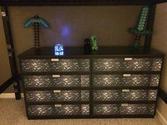 Minecraft dresser or chest IRL Just added diamond ore paper to an IKEA dresser Minecraft Bedroom Decor, Minecraft Wall, Minecraft Decorations, Minecraft Furniture, Dream Bedroom, Kids Bedroom, Bedroom Ideas, Kids Rooms, Geek Decor
