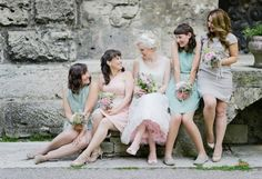 we are seeing more and more bridesmaids in pastel hues. love this look  Photography by nadiameli.com