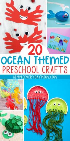 Find tons of fun ocean theme preschool crafts to make with the kids at home or in the classroom! They're easy to do and some come with a free printable templ Seahorse Crafts, Whale Crafts, Turtle Crafts, Ocean Crafts, Preschool Art Projects, Fun Crafts For Kids, Arts And Crafts Projects, Themes For Preschool, Ocean Projects
