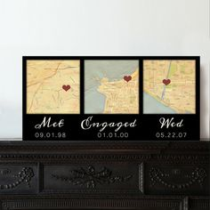 Map Canvas Gift 1st anniversary Gift Map canvas 3 locations | Etsy