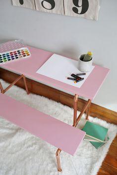 Child-Sized Copper Pipe Desk tutorial