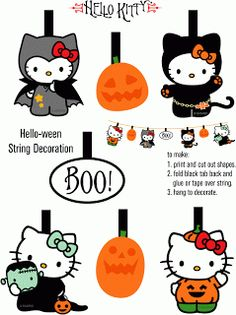 free printable hello kitty halloween bunting decoration print and hang - Halloween Decorations Printable