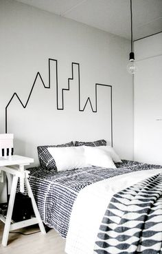 Washi tape head board--keep thinking of endless children's bedroom possibilities with this inspiration