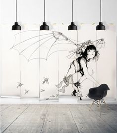wall sized Camilla art! The Wings Wall Mural | Wallpaper Republic