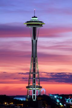 I could not have asked for a better backdrop of the Space Needle tonight. This is a single exposure, almost completely unaltered. I boosted the yellow to bring out the green lights of the needle but otherwise, this IS the sunset you missed tonight. A Funny amazing laugh strange