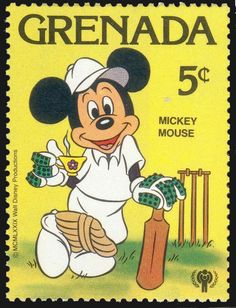 Stamp: Mickey Mouse playing cricket (Grenada) (International Year of the Child - Disney Cartoon Characters) Mi:GD 1030 Disney Cartoon Characters, Disney Cartoons, Granada, Mickey Mouse Art, Minnie Mouse, Postage Stamp Design, Historia Universal, Postcard Design, Vintage Stamps