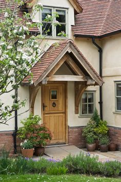 Porches and Sheds - Border Oak - oak framed houses, oak framed garages and structures. Front Door Canopy, Front Door Porch, Porches, House With Porch, House Front, Building A Porch, Building A House, Border Oak, Oak Frame House