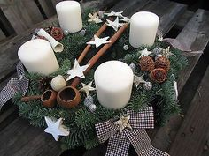 Advent wreath cream nature brown Ø Advent arrangement country house with exotics Source by resitheisen Last Christmas, Christmas Sewing, Handmade Christmas, Christmas Crafts, Christmas Decorations, Christmas Ornaments, Christmas Mason Jars, Christmas Candles, Advent Candles