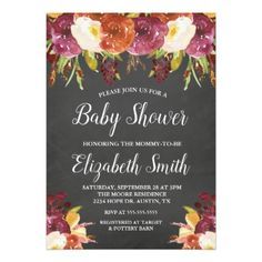 Fall Floral Baby Shower Invitation | Chalkboard - baby gifts child new born gift idea diy cyo special unique design
