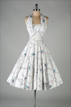 vintage 1950s dress . white butterfly print by millstreetvintage Miami Guild label