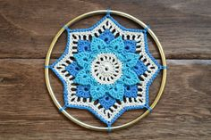 Pattern explains how to attach to a 4-inch hoop, or to add picots in order to make a doily version instead.