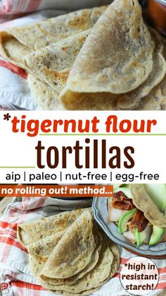 These are delicious! They're actually a little bit sweet! Tigernut Flour Tortillas {Paleo AIP egg-free nut-free no rolling out!} Yep no rolling with these beauties and they provide energy without any blood sugar dips. Paleo Recipes, Real Food Recipes, Paleo Meals, Eating Paleo, Cooking Recipes, Flour Recipes, Food Tips, Bread Recipes, Clean Eating