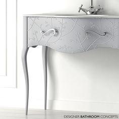 The Awesome Web Fiora Vivaldi Designer Freestanding Flores Silver Vanity Unit Leg Close Up Detail