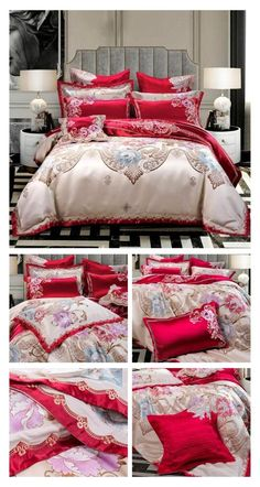 Now create a beautiful bed that will improve the overall decor of your bedroom while creating a more comforting sleeping environment for you as well. This Luxury Red 10 Pieces Bedding Set is specially designed for your master bedroom decor with High Thread Count Satin Silk fabric with beautiful design elements on the duvet cover and pillowcases. #luxury #red #bedding #duvet #duvetcover #bedlinen