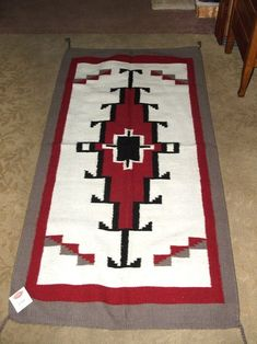 """Just one of our many beautiful woven wool throw rugs we have available.  Lg   32x64""""  size $89.50  #homedecor #southwestern #woven #rug #throwrug #wool"""