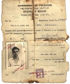 The aliyah certificate that Kalman received from the British Mandate authorities