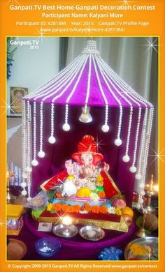 Kalyani More Page on Ganpati.TV where all Ganpati festival decoration pictures and videos are shared. Diwali Decorations At Home, Stage Decorations, Festival Decorations, Flower Decorations, Wedding Decorations, Ganpati Decoration Design, Mandir Decoration, Ganapati Decoration, Diwali Diy