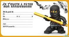 8 invitations anniversaires Lego Ninjago gratuites à imprimer. Avec les personnages de Cole, Jay, Kai, Nya, Zane et Sensei Wu. Télécharger 8 invitations an