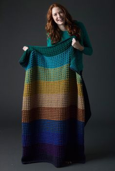Level 3 Knit Afghan from Lion Brand. Good way to use up those extra skeins of yarn.