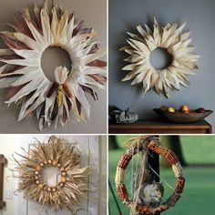 Decoração com Espiga e Palha de Milho Indian Corn Wreath, Wreaths, Nature, Home Decor, Shuck Corn, Make Believe, Autumn, Decorating Ideas, Spring