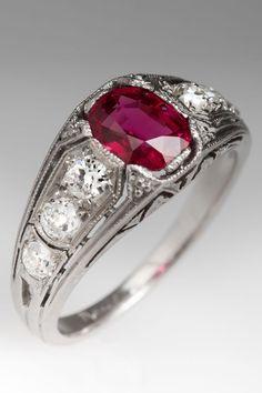 Ruby ring circa 1920. Vintage perfection by @EraGem