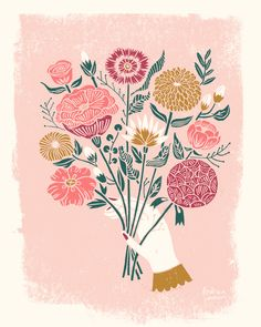 linocut, illustration, bouquet, linocut illustration, printmaking, printmaker, andrea lauren,