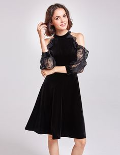 Alisa Pan Cold Shoulder Velvet Party Dress | Ever-Pretty.com