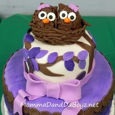 For my future twins ♡Adorable Owl Birthday Cake from Momma D and Da Boyz. Just Cakes, Cakes And More, Owl Cake Birthday, 5th Birthday, Fondant Cakes, Cupcake Cakes, Owl Cakes, Pretty Cakes, Creative Cakes