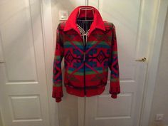 Pendleton wool jacket coat in vibrant reds unisex native indian M in Etsy https://www.etsy.com/shop/PaganBabyVintage #Pendleton #pendleton coat #pendleton jacket #nativeamerican