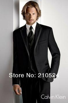 Customize Black Notch Lapel Groom Tuxedos Best Man Suit Wedding Groomsman/Men Suits Bridegroom(Jacket+pants+vest+tie) $128.00