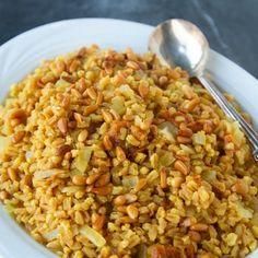 Saffron Farro w/ Apticots and Pine Nuts from @La Fuji Mama #recipe #oliveoil #NewYearNewYou