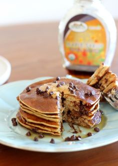 This easy recipe for Banana, Peanut Butter & Chocolate Chip Protein Pancakes is a healthy and delicious breakfast that is gluten-free and full of protein!