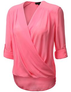 J.TOMSON Womens Long Sleeve Chiffon Surplice Blouse