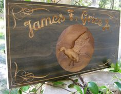 Duck Hunter Custom Wood Carved Family Name Sign Personalized Mallard Duck or Deer Hunter Last Name Wedding Anniversary Plaque Hunting Cabin on Etsy, $58.95