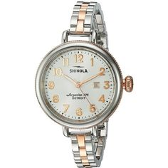 Shinola Detroit The Birdy 34mm - 20001100 (Pearl White/Stainless... ($525) ❤ liked on Polyvore featuring jewelry, watches, analog watches, dial watches, polish jewelry, rose gold watches and white faced watches