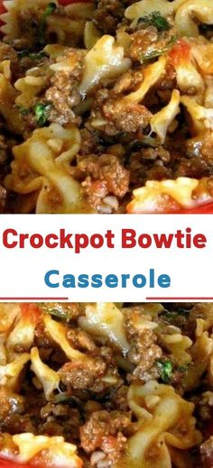 Easy Crockpot Bowtie Casserole Swap out the casserole dish and throw everything in the slow cooker to find your freedom once again! Loaded with juicy browned ground beef and hearty bowtie pasta, this dish will fill the bellies of the masses. Slow Cooker Huhn, Crock Pot Slow Cooker, Crock Pot Cooking, Slow Cooker Recipes, Beef Crock Pots, Slow Cooker Casserole, Slow Cooker Pasta, Cooking Oil, Meat Recipes