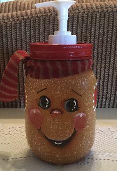 Gingerbread Soap Lotion Dispenser. Pint Jar. by CraftsByJoyice