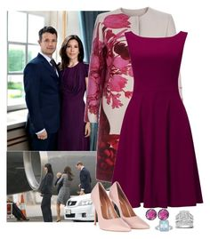 """""""ROYAL TOUR #79: Denmark Day 1, Arriving in Denmark"""" by hrh-princess ❤ liked on Polyvore featuring Giambattista Valli, Phase Eight, Topshop, Larkspur & Hawk, Apples of Gold and Kobelli"""