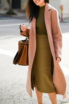 dress and coat outfit Fall Fashion Outfits, Fall Fashion Trends, Work Fashion, Winter Fashion, Winter Outfits, Womens Fashion, Fashion Fashion, Fashion Coat, Fashion Belts
