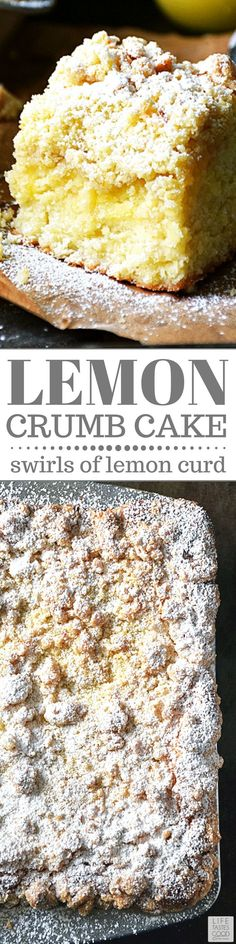 Lemon Crumb Cake is a New York style crumb cake with tangy lemon curd swirled throughout the sweet cake and topped with a crumb topping that will have you licking the plate to gobble up every scrumptious last morsel. This delicious make ahead brunch or de Mini Desserts, Brownie Desserts, Oreo Dessert, Coconut Dessert, Low Carb Dessert, Lemon Desserts, Lemon Recipes, Just Desserts, Sweet Recipes