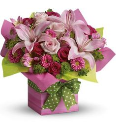 It's new, it's different, it's gorgeous – and there's no wrapping involved! With its feminine pink lilies and roses, this lovely present bouquet is perfect for any special occasion that you're celebrating. For more suggestions: http://big-flowers.com/product-category/pink-flowers-nyc/
