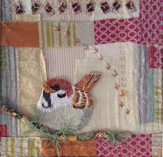 Sparrow. Hand embroidered. www.violetshirran.com