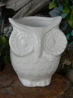 White Ceramic Owl  Planter Vintage Design  Vase - Hoots for the Holidays Ready to ship items in my shop on Etsy, $23.50