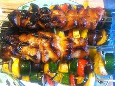 Honey Soy Chicken & Veggie Kabobs @ The Checkered Tablecloth